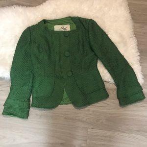 Tabitha Anthropologie Green Blazer Jacket Size 2